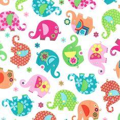 Michael Miller 'Elephant Romp' in Pink Cotton от THHaberdash