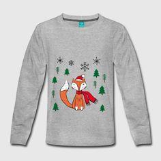 Niedlicher Fuchs mit Schal und Haube mit Schneeflocken und Bäumen umringt. Christmas Sweaters, Graphic Sweatshirt, Sweatshirts, Fashion, Cute Fox, Women's T Shirts, Clothing Apparel, Snowflakes, Moda