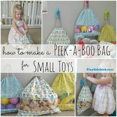 How to make a peek a boo bag for small toys by Tiny Sidekick @Corey Reece @TinySidekick.com | Would make a cute baby shower or holiday gift