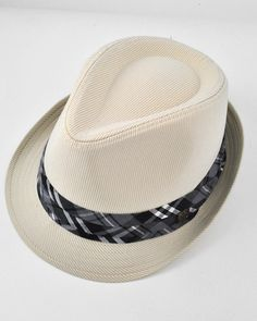 Unisex / Beige Fedora / Pin Stripe W/plain Band / 100% Cotton / Large To X-large