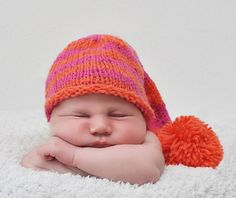 Pink and orange striped hat