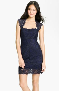 Nicole Miller Lace Fitted Cap Sleeve Lace Sheath Dress available at #Nordstrom    omg, I want.