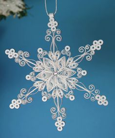 "Stunning Stellar Dendrite Snowflake - White Quilled / Filigree ""Laced in Air Snowflake"" - Christmas Holiday Tree Ornament. $17.50, via Etsy."