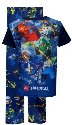LEGO Ninjago Attack Of The Ninjas Pajamas Watch out, Lord Garmadon! The Ninjago Spinjitsu Masters are coming for you! These flame resistant short sleeve pajamas for boys feature the LEGO Ninjago characters Kai, Jay, Cole, Lloyd and Zane. Pants feature an all over print of the ninjas in action on a blue background with an elastic waist. Perfect for the LEGO Ninjago fan in your house! $20.00