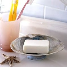 shell soap dish - another easy project for kids to make from shells collected on summer vacation