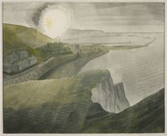 Eric Ravilious (1903‑1942)  Shelling by Night,  1941   Graphite and watercolour on paper,  445 x 546 mm Collection Tate