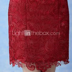 Cocktail Party Dress A-line Bateau Knee-length Lace with Lace 2017 - R$168.97