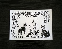 Papercut A4 size  Handmade Forest and Fox Paper Cut  by Kalatirth