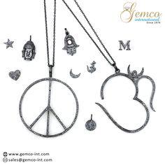 Diamond Charms   Pave set diamond silver charms   #om #Peace #hamsa  #heart #initial  #buddha  #star  #fashion