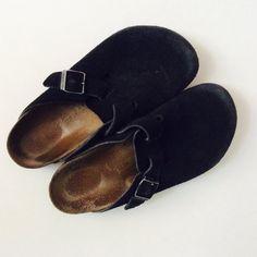 Black suede Birkenstock clogs size 39 by ProjectObjectVintage