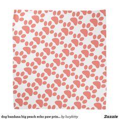 dog bandana big peach echo paw prints pattern