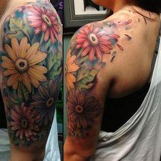Combinatie bloemen en achtergrond/opvulling