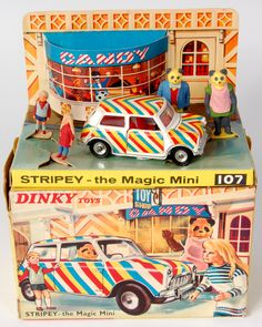 Lot 1956 - Dinky, 107 STRIPEY the Magic Mini with Candy, Andy and the Bearandos, striped Mini plus 4 plastic