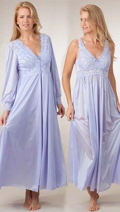 Shadowline Silhouette Long Gown/Robe Peignoir Set - Peri Frost **-**