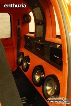 Rockford Fosgate, 4 Subs & 5 Amps.. custom Sub enclosure & Amp rack in a Truck..