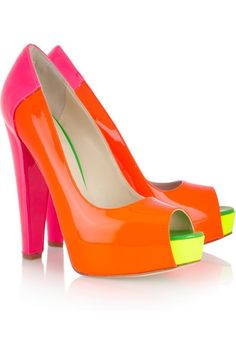 Neon colorblock peep toe platforms for summer. Perfect POP of color for a white outfit.