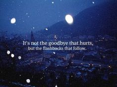 Its not the goodbye that hurts,  But the flashbacks that follow