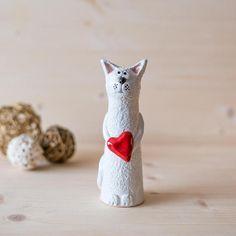 Ceramic Cat Clay Ornament Handmade Ceramic figurine