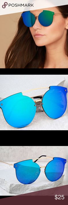 Gold & blue mirrored sunglasses Brand new in package!!!  Awesome sunnies!!!💋 Lulu's Accessories Sunglasses