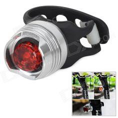 2-Mode Red Light Bike Tail Light - Silver   Red   Black (2 x CR2032) Price: $5.50