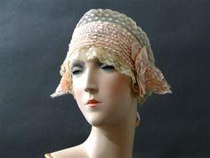 1920s Breakfast Hat Sleep Bonnet Peachy Pink by SueEllensFlair
