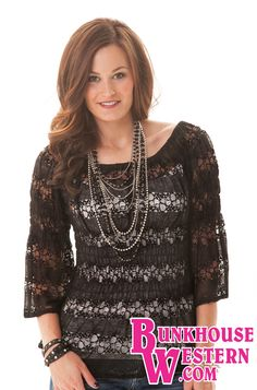 @cowgirltuffco Black Lace Peasant Blouse, Dress Shirt, Cowgirl Tuff, Rodeo, Country Girl, Barrel Racing, $64.99, http://bunkhousewestern.com/H394
