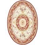 Chelsea Ivory/Burgundy (Ivory/Red) 4 ft. 6 in. x 6 ft. 6 in. Oval Area Rug