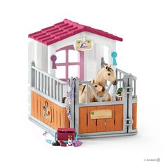 Schleich Horse Club Horse Stall with Arabian Horses and Groom Playset Schleich Horses Stable, Breyer Horses, Arabian Horses, Miniature Horse Barn, Barbie Horse, Barbie Ballet, American Girl Doll Pets, Breeds Of Cows, Baby Doll Nursery