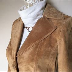 Tan Suede Leather Jacket NWT - XS 100% suede leather jacket / blazer. Brand new with tags - tags include extra buttons & leather care instructions. Tan / light brown / camel / latte color. Preston & York. Fully lined. 3 buttons, 2 exterior slit pockets. Shell: 100% leather. Lining: 100% polyester. Preston & York Jackets & Coats Blazers