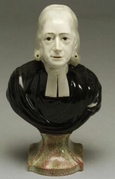 Staffordshire Bust of John Wesley, century, on green and red speckled base Christian Mysticism, John Wesley, Demonology, Persecution, Witchcraft, 19th Century, Base, Sculpture, Statue