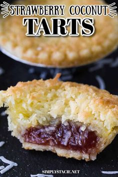 Strawberry Coconut Tarts - Tiny tarts perfect for parties! Strawberry jam is surrounded by a coconut pie. Mini Desserts, Easy No Bake Desserts, Best Dessert Recipes, Sweet Recipes, Delicious Desserts, Easy Tart Recipes, Oreo Desserts, Coconut Desserts, Carrot Recipes