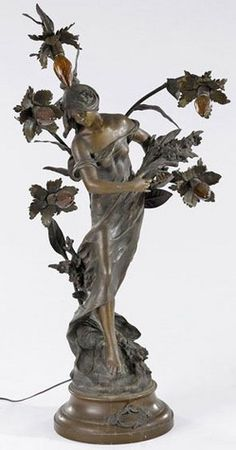 Metal Sculpture; Moreau (Auguste), signed, Art Nouveau, Newel Post Lamp, Young Woman with Flowers, 47 inch.