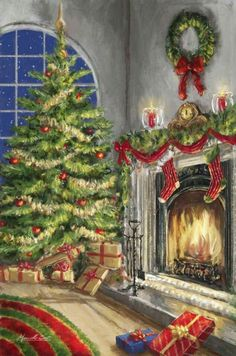 Marcello Corti - christmas packages by the tree and a cozy fire. : Marcello Corti - christmas packages by the tree and a cozy fire. Vintage Christmas Images, Christmas Scenes, Merry Little Christmas, Christmas Past, Christmas Pictures, Christmas Greetings, Winter Christmas, Christmas Shopping, Illustration Noel