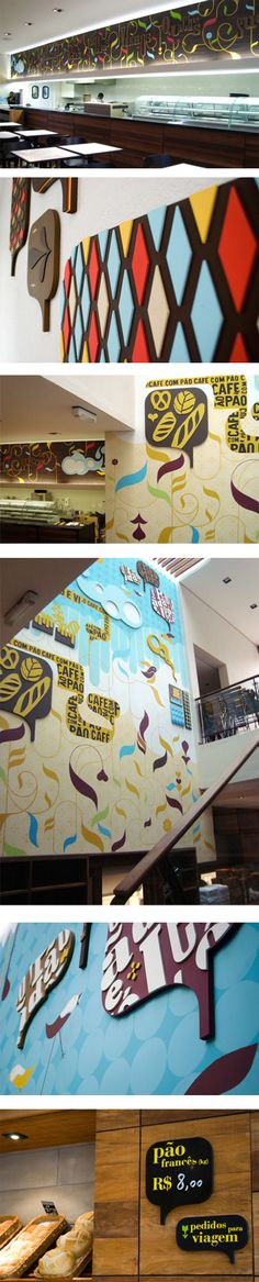 Projeto de ambientação e sinalização para a padaria Pão de Ló, trabalho desenvolvido por Laura Daviña.  sinalizarblog.com