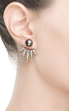 Black Pearl And White Diamonds Spectrum Collection Spike Earrings by Nikos Koulis for Preorder on Moda Operandi