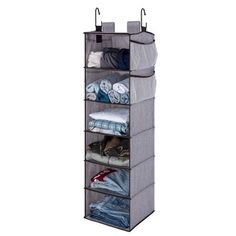 StorageWorks 6-Shelf Polyester Hanging Closet Organizer With Side Pockets Gray : Target Dorm Closet Organization, Dorm Room Storage, Hanging Closet Organizer, Bag Storage, Closet Rod, Closet Shelves, Room Closet, Cool Dorm Rooms, Hanging Clothes