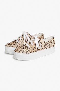 Monki Leopard print platform sneaker in Beige