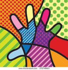 Hand. Colorful. Pop-art modern illustration for your design.