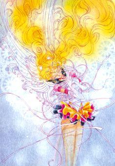 """エターナルセーラームーン : セーラームーン原画集 Original Artbook vol.5 """"Eternal Sailor Moon and Sailor Cosmos's two images are layered on top of each other in this drawing. The main lines were drawn in purple ink, but when I took it over to Nakayosi the pink started to come out, so I finished it up very softly. The lace paper was glued to a cardboard back and on top of that I drew the picture on tracing paper. I really enjoyed how the colors came out in this book."""" by Naoko Takeuch - 1997 Nakayosi March first…"""