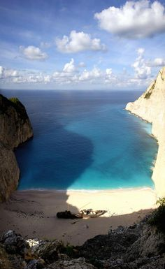 Shipwreck beach on Zakynthos, one of the Ionian Islands off the coast of Greece.