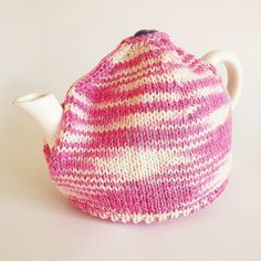 SALE  Hand Knit Tea Cosy Hand Knitted Pink and Cream by Artyfibres