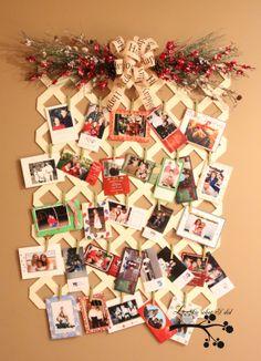 Cute way to display christmas cards.  Lattice Christmas Card Display