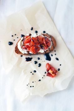 Goat Cheese and Ricotta Crostini with Candied Cherry Tomatoes and Balsamic Glaze