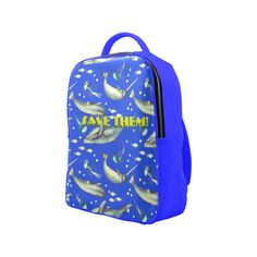 PiccoGrande`s Save the Ocean whales-jellyfish-full-blue-yellow Popular Backpack (Model Popular Backpacks, Mouth Mask Fashion, Cute Photos, Whales, Jellyfish, Dog Friends, Dog Mom, Octopus, Dolphins