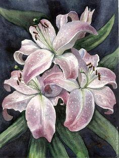 """Картины цветов ручной работы. Ярмарка Мастеров - ручная работа. Купить Картина """"Белые лилии"""". Handmade. Бледно-розовый, цветок"""