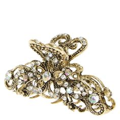 Burnished Gold and Crystal Filigree Vintage Hair Claw | Claire's