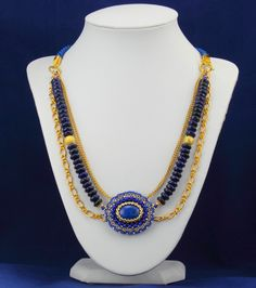 Nitecznik necklace beading lapis lazuli nitecznik.blogspot.com