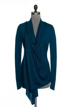 Draped multi-use cardigan - Turquoise Cardigans. jacob