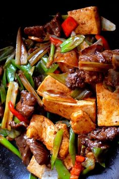 Scallion Ginger Beef Tofu Recipe, can it be any tastier  than this?! #gingerscallion #beef #tofu