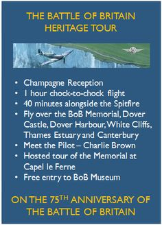 Battle of Britain Heritage Spitfire Tour  CALL TO BOOK - 01227 721929